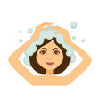 young woman washing her hair and taking shower vector image vector image
