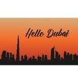 Dubai city at sunset of silhouette vector image