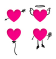 Valentines Day heart stickers with doodle details vector image