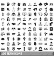 100 team icons set simple style vector image vector image