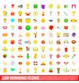 100 winning icons set cartoon style vector image vector image