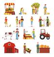 1607i118013Pm005c23autumn harvest farm people set vector image