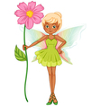 A fairy holding a fresh pink flower vector image vector image
