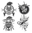 barber equipment emblems labels badges logos vector image