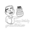 birthday cake hold by grandfather vector image vector image