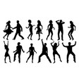 black and white dancing silhouettes set vector image vector image