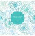 blue line art flowers frame seamless pattern vector image vector image