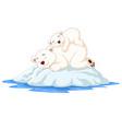 cartoon mother and bapolar bear sleeping on ice vector image vector image