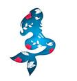cartoon paper sea mermaid vector image vector image