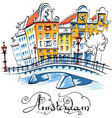 city view of amsterdam canal vector image vector image