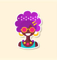 cute colorful hippie woman sticker in bright vector image vector image