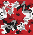 cute floral seamless pattern red flower vector image vector image
