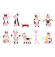 cute happy cow collection cartoon with milk bottle vector image