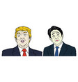 donald trump and shinzo abe portrait flat design vector image vector image