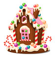 festive cake in shape village house decorated vector image vector image