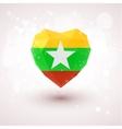 Flag of Myanmar in shape diamond glass heart vector image