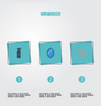 flat icons razor looking-glass hairspray and vector image vector image