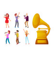 gramophone gold prize for best song and singers vector image vector image