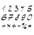 Handwritten Font Arabic Numerals Set vector image vector image
