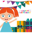 happy birthday card with kids vector image vector image