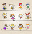 happy kids hand drawing cartoon character vector image