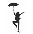 happy woman with umbrella vector image vector image