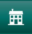 house icon in flat style on green background vector image vector image