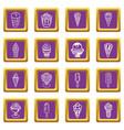 ice cream icons set purple square vector image vector image
