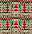 Knitted seamless Christmas tree print vector image