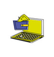 laptop computer with wallet money vector image vector image