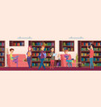 library background kids students choosing books vector image