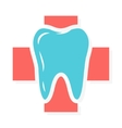 logo combination of cross medical and tooth vector image