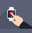 measuring heart rate smart clock s vector image