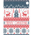 nordic pattern with christmas cross stitch motive vector image