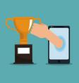 online trophy cup vector image