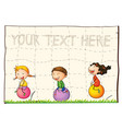 paper background with kids on bouncing balls vector image vector image