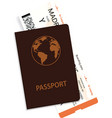 passenger boarding pass and passport vector image vector image