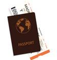 passenger boarding pass and passport vector image