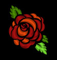 red rose embroidery on black background vector image vector image