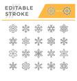 set line icons snowflake vector image