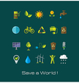 Set of Environment and ecology flat icons vector image