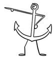 ship or boat anchor cartoon character pointing at vector image