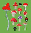 style of amanita mushrooms dangerous set vector image