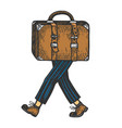 Suitcase bag walks on its feet color sketch
