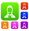 support phone operator in headset set collection vector image vector image
