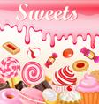 Sweet dessert food frame background glaze stains vector image vector image