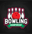 ultimate bowling chanpionship logo design vector image vector image