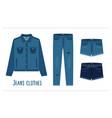 various denim jean clothes vector image