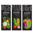 vegetable chalkboard banner of fresh veggies vector image vector image