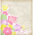 Vintage background with pink and yellow flowers vector image vector image